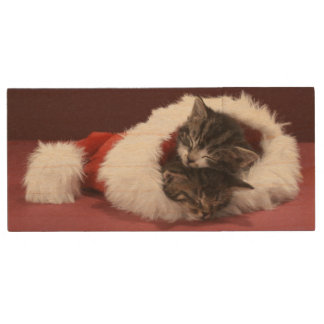 Kittens asleep together in Christmas hat Wood USB 2.0 Flash Drive