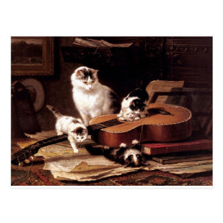 Kittens cat playing with guitar naughty cute postcard
