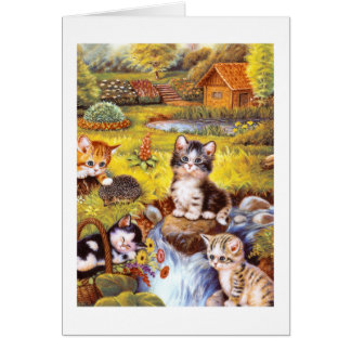 Kittens in a garden greeting card