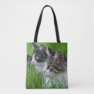 kittens in grass tote bag