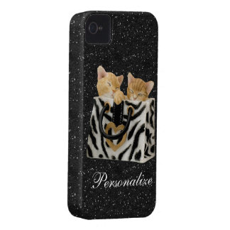 Kittens in Handbag Black Glitter iPhone 4 Case