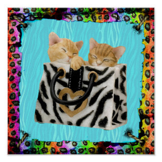 Kittens in Handbag Colorful Animal Print Poster