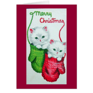 Kittens in Mittens Merry Christmas Card