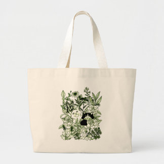 Kittens in the Wildflowers Large Tote Bag