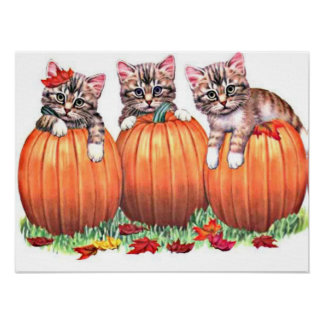 Kittens on Pumpkins Print