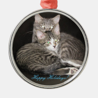 Kittens Photo Silver-Colored Round Decoration