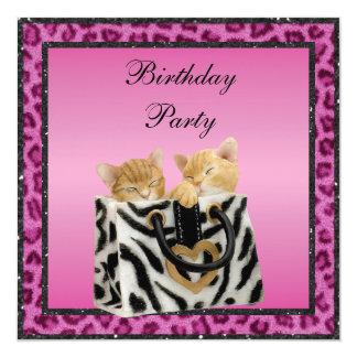 "Kittens & Pink Leopard Print Fur Birthday Party 5.25"" Square Invitation Card"
