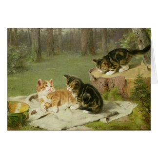 Kittens Playing Card