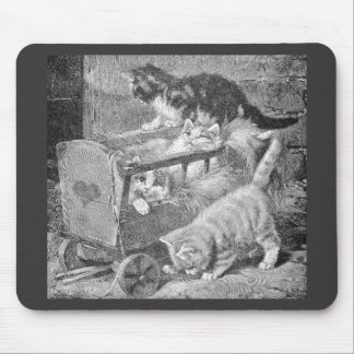 Kittens Playing in Wagon Mouse Pad