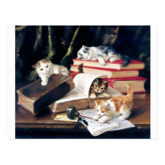 Kittens playing on a desk postcard