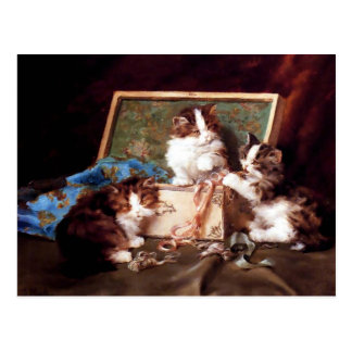 Kittens playing with a sewing box painting postcard