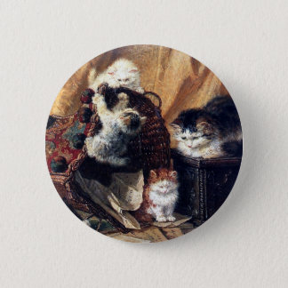 Kittens playing with basket antique painting 6 cm round badge