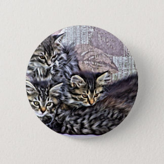 Kittens relaxing on a chair 6 cm round badge