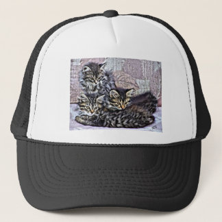 Kittens relaxing on a chair trucker hat