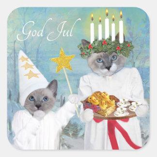 Kittens' Santa Lucia Square Sticker