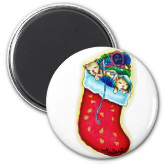 Kittens' Stocking Round Magnet