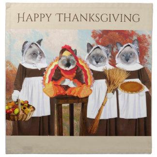 Kittens Thanksgiving Cloth Napkins