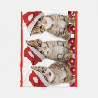 Kittens Wearing Santa Hat Fleece Blanket