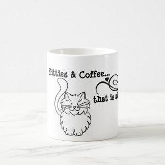 Kitties and coffee with cat doodle coffee mug