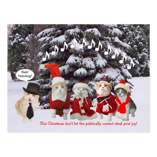 Kitties Singing Christmas Carols Postcard