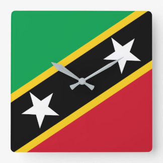 Kitts and Nevis Flag Square Wall Clock