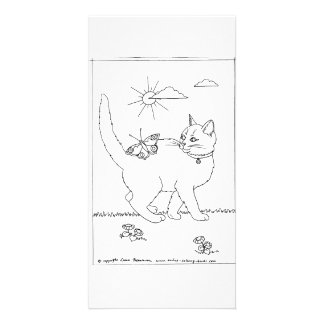 Kitty and Butterfly Line Drawing Customized Photo Card