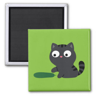 Kitty and Cucumber Illustration Magnet