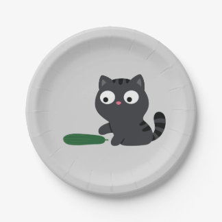 Kitty and Cucumber Illustration Paper Plate