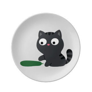 Kitty and Cucumber Illustration Plate