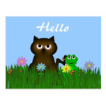 Kitty and Frog Hello Postcard