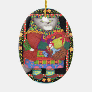 Kitty Baboushka Oval Ceramic Ornament