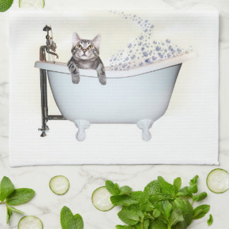 Kitty bath time tea towel