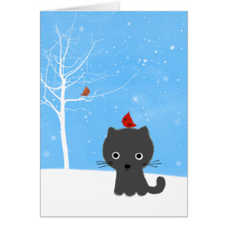 Kitty & Bird Friends Card