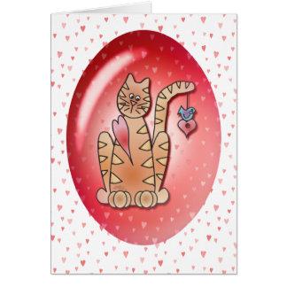 KITTY, BIRD & HEARTS by SHARON SHARPE Card