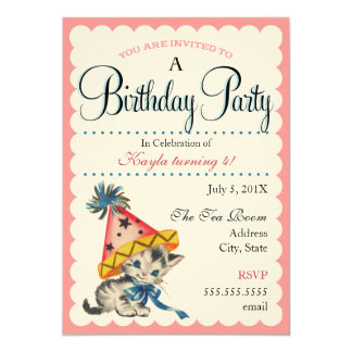 Kitty Birthday Party | Retro Birthday Invitations