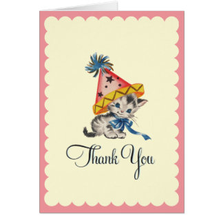 Kitty Birthday Party  |  Retro Thank You Card