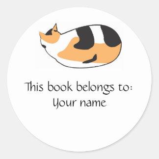 Kitty Book label Round Sticker