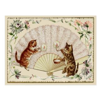 Kitty Bubbles & Fan Vintage Reproduction Postcard