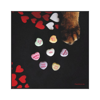 "Kitty Candy Hearts 8""x8"" Wrapped Canvas"
