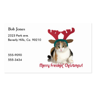 Kitty Cat & Antlers Merry Freakin Christmas Double-Sided Standard Business Cards (Pack Of 100)
