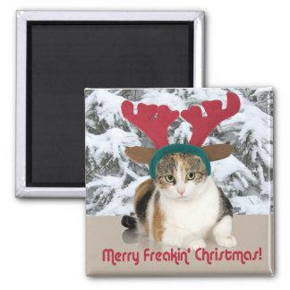 Kitty Cat & Antlers Merry Freakin Christmas Fridge Magnets