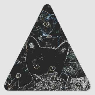 Kitty Cat Art Triangle Sticker