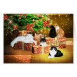 Kitty cat Christmas Greeting Card