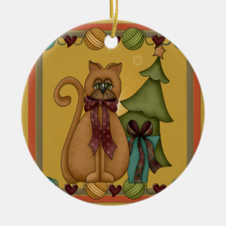 Kitty Cat Christmas Picture Round Ceramic Decoration