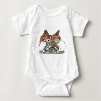 Kitty Cat Clutches his Turtle Pal Baby Bodysuit
