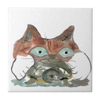 Kitty Cat Clutches his Turtle Pal Ceramic Tile