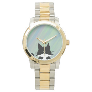 Kitty Cat Covering Mouth with Background Watch