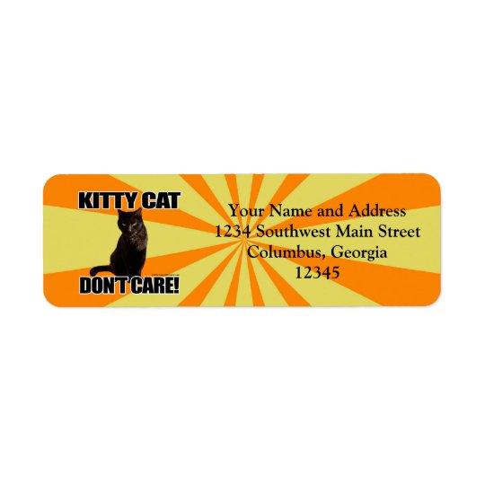 Kitty Cat Don't Care Return Address Label