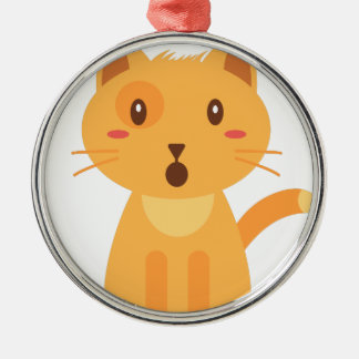 Kitty Cat Expressions Face Shirt Metal Ornament