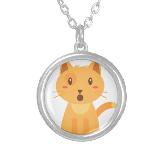 Kitty Cat Expressions Face Shirt Silver Plated Necklace